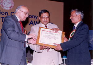 National Citizen Award from Justice PN Bhagwati 25 Aug. 2001